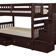 Bedz King Stairway Bunk Beds Twin over Twin with 3 Drawers in the Steps