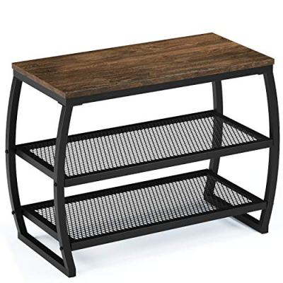 SRIWATANA Shoe Rack Bench, Vintage 3-Tier Heavy Duty Shoe Organizer