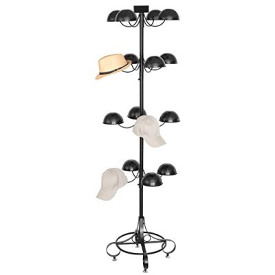 MyGift Commercial Black Metal 4 Tier Rotating 16 Dome-Shaped Hat