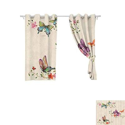DONEECKL Thermal Curtains Apartment Decor Butterfly Collection