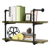 Giantex 2 Tier Rustic Wall Shelves with Wood, Industrial Pipe