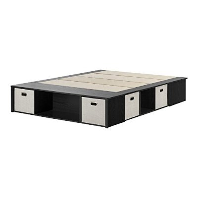 South Shore Flexible Platform Bed with Storage and Baskets, Queen 60-Inch