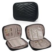 Becko Travel Jewelry Organiser Bag Case/Softed Padded Travel Jewelry Roll Pouch for Necklaces, Rings, Bracelets, etc (Black)
