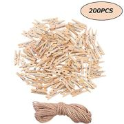Areedy Wooden Clothes Pins 2.5cm Sturdy Mini Clothespins Photo Clips with Jute Twine Multi-Function Clothespins Photo Paper Peg Pin Craft Clips 200Pieces