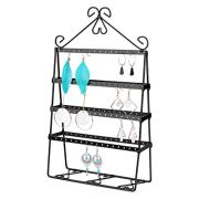Flexzion Jewelry Tower Organizer, Metal Accessories Holder, Antique 4-Layer Display Stand for Hanging Earrings Necklaces Bracelets, Ornament Storage for Dresser Nightstand Tabletop Desktop, Black