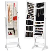 Giantex Lockable Standing Jewelry Armoire with Full Length Mirror