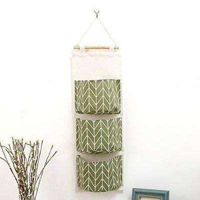 EORBIW Hanging Storage Bag, Linen Cotton Organizer Bag Over The Door Closet Organizer with 3 Pockets for Bedroom & Bathroom (Green)