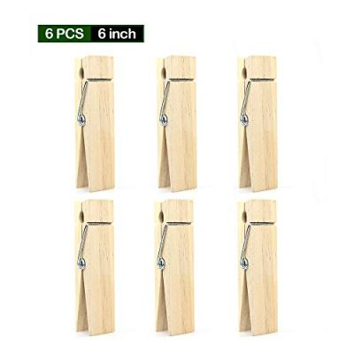 RIVERKING big/giant clothes pins,natural wooden craft clips,photo wooden clips for photo paper diy,wedding and bathroom decoration(6pcs,6 inch)
