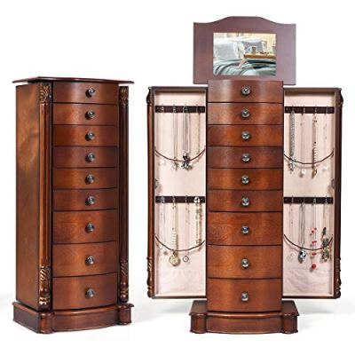 GOFLAME Chest Armoire Cabinet Standing with Mirror, Storage Organizer