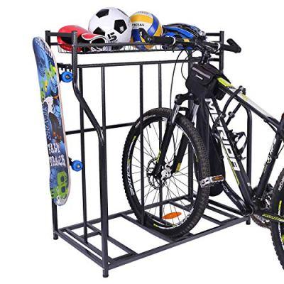 Mythinglogic Bike Rack, Bicycle Holder with Baskets Collection Organizer