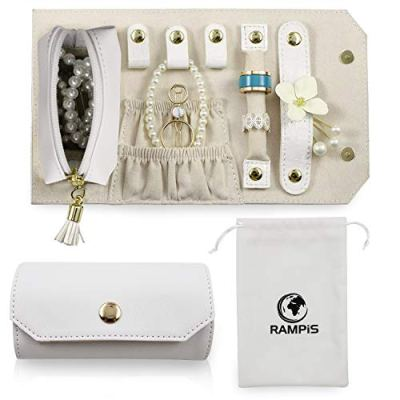 Rampis Travel Jewelry Organizer - Portable Jewelry Roll for Travel - Portable & Light Weight Jewelry Storage Organizer Bag for Daily Jewelries - Ideal for Carrying Bracelets, Earrings, Rings & More