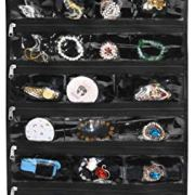 Freegrace Premium Hanging Jewelry Organizer Revolving Hanger - Secure Zipper Closure - 50 Pockets/Two-Side Pockets - Foldable Storage & Display Solution Jewelry & Bijoux - Black