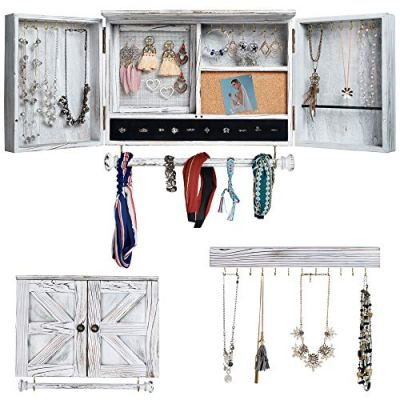 Rustic Jewelry Organizer with Wooden Barndoor for Home Decor   Wooden Wall Mount Holder for Necklaces, Bracelets, Earrings, Ring Holder, and Accessories   Hanging Jewelry Box includes Hook Organizer