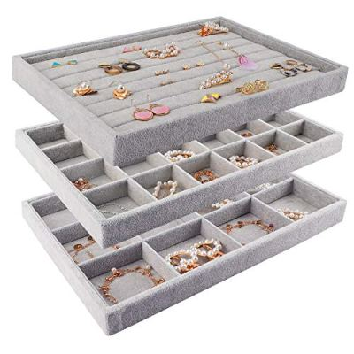 Mebbay Stackable Velvet Jewelry Trays Organizer, Jewelry Storage Display Trays for Drawer, Earring Necklace Bracelet Ring Organizer, Set of 3 (Grey)