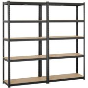 Yaheetech Black 5-Shelf Steel Shelving Unit Storage Rack Adjustable Garage Shelves