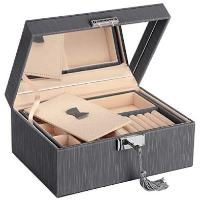 SONGMICS 2-Layer Box, Lockable Jewelry Organizer, Foldable Tray, Removable Divider, Gray UJBC232GY