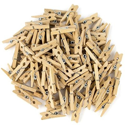 100-Pack Minipins | Miniature-Sized Rustic Wooden Clothespins for Scrapbooking, Crafts, Decoratng and Organizing