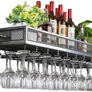 YAGEER JJIAGD Wine Bottle Bar Unit Floating Shelves Loft Wine Rack Wall Shelf Metal Iron Ceiling Rack Storage Wine Racks Hanging Wine Bottle and Glasses Stemware Holder Holder Frame Wine Goblets