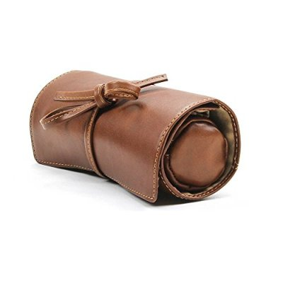 CUSTOM PERSONALIZED INITIALS ENGRAVING Tony Perotti Womens Italian Cow Leather Premium Combination Jewelry Roll with Tie Closure in Cognac