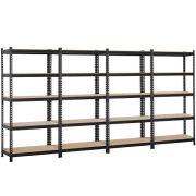 Topeakmart 4 Packs 5-Tier Black Garage Shelving Unit, Steel Display Rack
