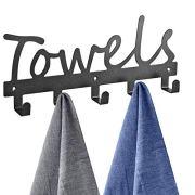 Towel Racks 5 Hooks Black Sandblasted Robe Hooks Wall Mount Towel Holder