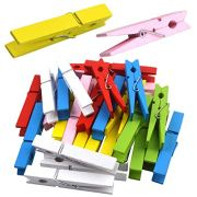 30 Pieces Large Wooden Clips, 2.9 Inch Colorful Photo Paper Clip Clothespins Clothes Pegs Pins- Assorted Colors