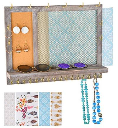 Klesis Shoppe Large Jewelry Organizer Wall Mounted - Rustic Hanging Jewelry Organizer - Earring Organizer - Necklace Holder - Ring Holder - Bracelet Holder - Stud Earring Holder - 5 Backgrounds
