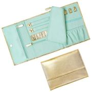Mymazn Travel Jewelry Roll Organizer, Foldable Jewelry Bag Case Shiny Leather Jewelry Storage with Soft Suede Liner (Gold/Mint Green)