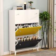 Tribesigns Modern 3 Drawer Shoe Cabinet, 3-Tier Shoe Rack Storage Organizer