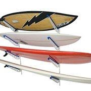 StoreYourBoard Metal Surfboard Storage Rack, 4 Surf Adjustable Home Wall Mount