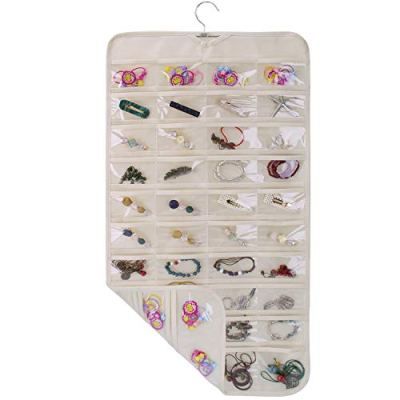 SPIKG Hanging Jewelry Organizer Holder, Storage Bag for Earrings Necklace Bracelet Ring Accessory Display Holder Box (Beige -80 Pockets)