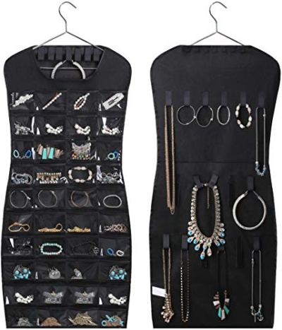 MISSLO Dual Sided Hanging Jewelry Organizer with 40 Pockets and 24 Hook & Loops Closet Necklace Holder for Earring Bracelet Ring Chain with Hanger, Black