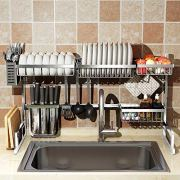 "Over Sink(32"") Dish Drying Rack, 2 Cutlery Holders Drainer Shelf for Kitchen Supplies"