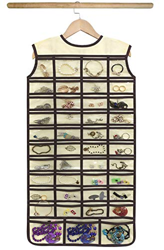 BB Brotrade Hanging Jewelry Organizer,Double Sided Jewelry Storage Organizer with Wooden Hanger,86 Clear PVC Pockets for Holding Necklaces, Bracelets, Rings, Earrings (Beige)