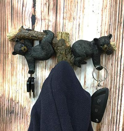"Ebros Whimsical Forest Rustic 2 Playful Black Bears Dangling On Tree Branches 3 Pegs Wall Hooks 9.25"" Wide Hanger Bear Themed Wall Mount Coat Hat Keys Hook Decor Hanging Sculpture Plaque"