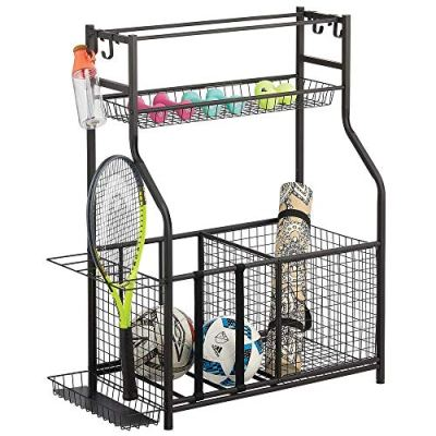 mDesign Metal Heavy Duty Sports Storage Rack with Top Shelf - Holds Basketballs