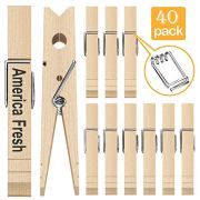 Sooneat Clothes Pins Wooden Clothespins 40 PCS - Wood Photo Clips for Pictures Clothes Pin Decorative Clothespins Laundry Baby Clothing Pins, Ideal for Crafts, Chip Clips, Home Office Decoration