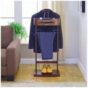BS Clothes Valet Stand Wood Rack Organizer with Drawer Freestanding