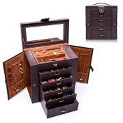 Uptizer Large Jewelry Box, Functional 6-Layer Leather Jewelry Organizer/Storage/Case with Removable Drawers for Women or Girls (Brown)