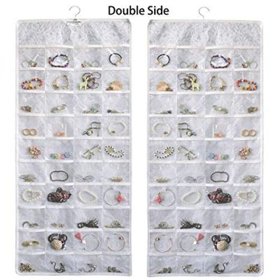 BB Brotrade Hanging Jewelry Organizer,Double Sided Jewelry Storage Organizer with Embossed Pattern,80 Clear PVC Pockets Organizer for Holding Jewelries (White)