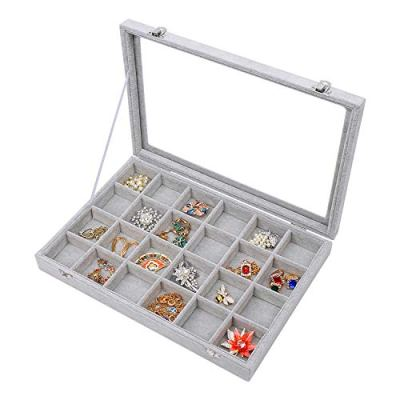 STYLIFING Clear Lid Velvet 24 Grid Jewelry Tray Transparent Jewelry Display Showcase Lockable Felt Jewelry Storage Organizer Charm Box Holder Gifts for Girls Women