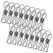 Wobe 30 Pack Stainless Steel Clothes Pins, Utility Clips Hooks Clothespin Clothesline Clip 2 inch for Home Laundry Office Outdoor Indoor Drying Cord Kitchen Tools Fastener