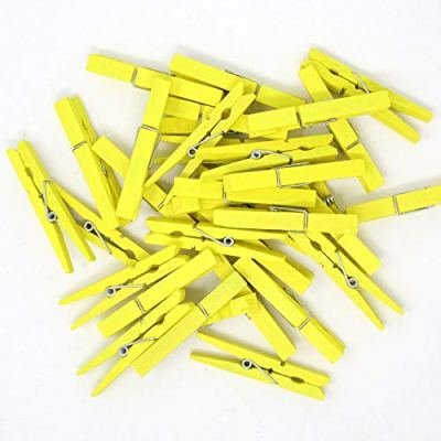 Just Artifacts 2.75-inch Craft Wood Clothespins/Peg Pins (100pc, Lemon Yellow)