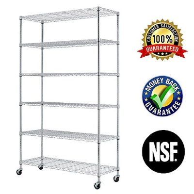 "6 Tier Wire Shelving Rack,Steel Shelf 48"" W x 18"" D x 82"" H Adjustable Storage"