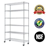 "6 Tier Wire Shelving Rack,Steel Shelf 48"" W x 18"" D x 82"" H Adjustable Storage"