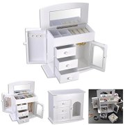 Yescom Wooden Jewelry Box Built-in Mirror Ring Earring Necklace Organizer