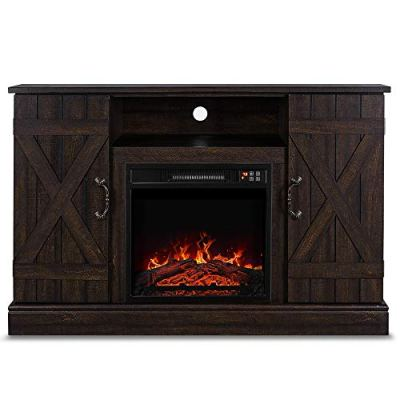"""BELLEZE Veropeso 46 Inch Fireplace Heater Television Stand for TV's Up to 50"""""""
