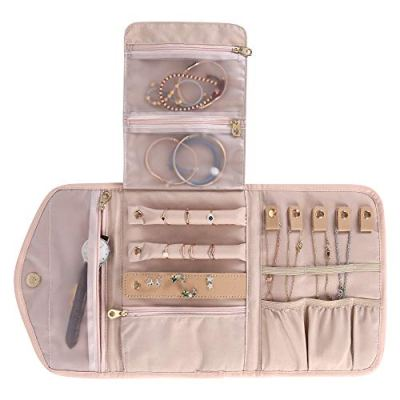 KUAK Travel Jewelry Organizer Roll Foldable Jewelry Roll Bag Small Jewelry Storage Bag for Journey-Rings, Necklaces, Bracelets, Earrings, Soft Pink