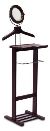Legacy Decor Valet Stand with Mirror New Espresso Finish