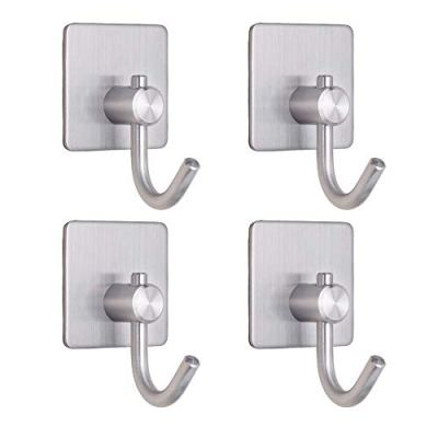 Towel Hooks Adhesive Hook Heavy Duty Wall Hooks Chrome Waterproof Utility Hooks Hanger for Coat Key Hat Bag - Bathroom Kitchen Home(4 Packs)